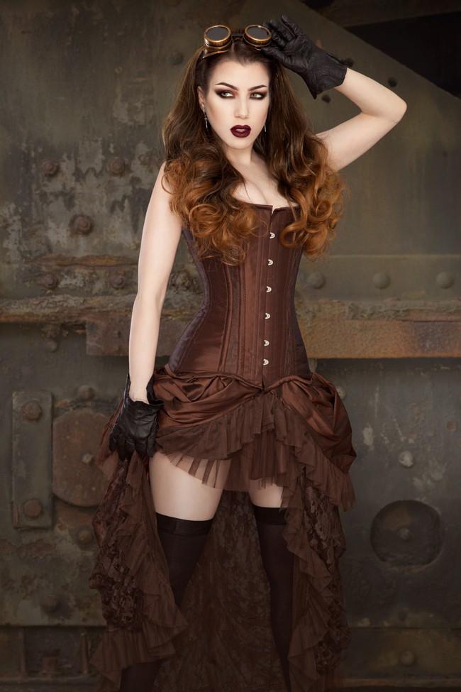 Elvira Gothic Steampunk Corset Skirt In Brown Taffeta 79 00
