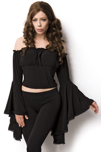 Black Jersey Blouse with Trumpet Sleeves