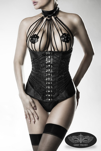 Leatherette Underbust Corsage with Ribbon and Lace