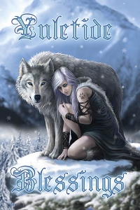 Anne Stokes Jul-Grußkarte - Winter Protector