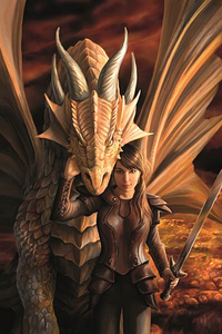 Anne Stokes Girls and Dragons Grußkarte - Inner Strength