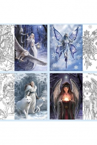 Anne Stokes Ausmalkarten - Winter Fantasy Set - 4er Pack