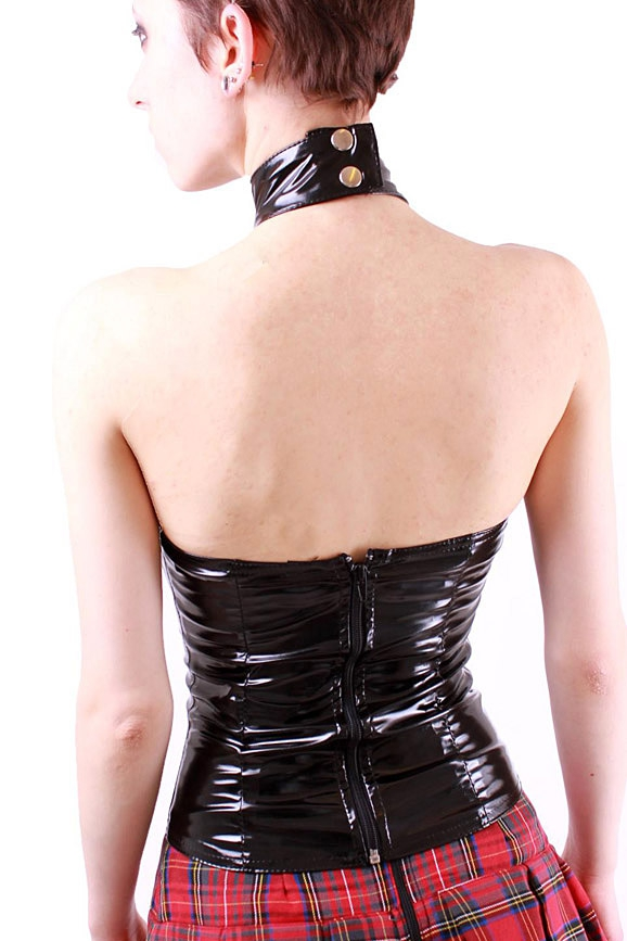 Versace Vinyl Halter Neck Top in Black | Lyst  |Pvc White Halter Top
