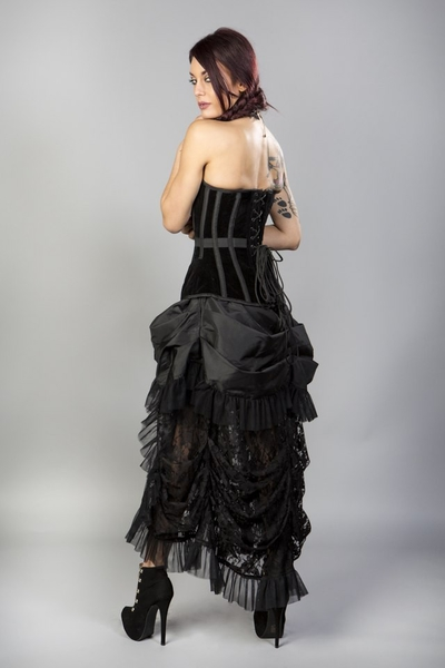 Elvira Gothic Corset Skirt in Black Taffeta