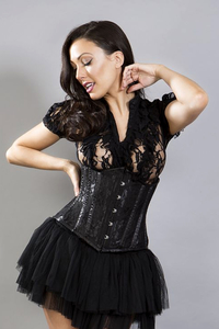 Angel Lily - Satin and Lace Underbust Corset - Black