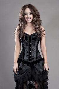 Abandoned Satin Flock and Velvet Overbust Corset