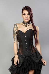 Morgana Taffeta Overbust Corset - Brown-Black