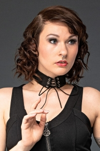 Black Faux Leather Eyelet Choker