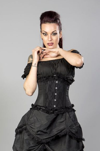 Elizium Underbust Corset in Black Taffeta and Black Lace