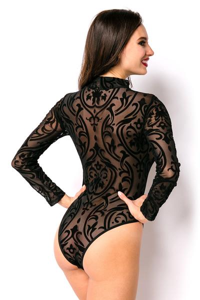 ... Black Mesh Bodysuit with Flock Print ... 9a9d294f1