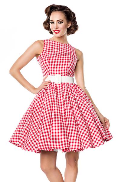 online store 6d0f5 14a38 Maxine - Rot-Weißes Karokleid mit Gürtel
