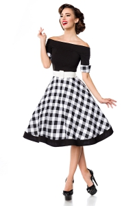 Madison Chequered Dress - Black-White