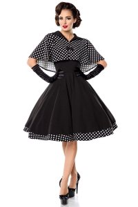 Mabel Black Swing Dress with Polka Dots Cape