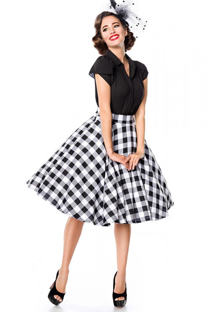 Maxine Black-White Chequered Swing Skirt, 35,90