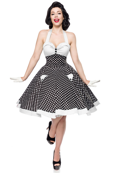 6e572ebfe595 Betty Vintage Swing Dress - Black-White
