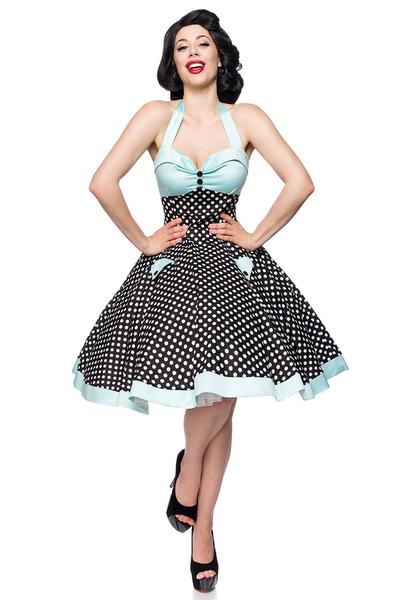 5b52d7d4b19f Betty Vintage Swing Dress - Black-Pastel Blue