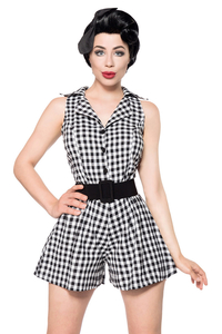 Belisama Black-White Chequered Retro Jumpsuit
