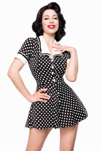 Joan Black White Polka Dot Retro Jumpsuit 4995