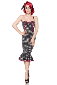 Vickie - Pencil Dress mit Polka Dots und Saumvolant