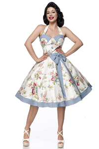 Myra Vintage Swing Bow Dress - White-Blue-Pink