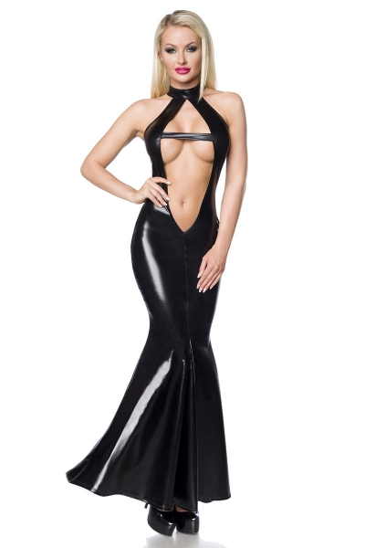 Wetlook Mermaid Dress mit tiefem Ausschnitt
