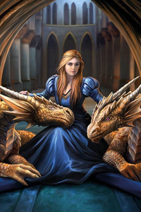 Anne Stokes Girls and Dragons Grußkarte - Fierce Loyalty