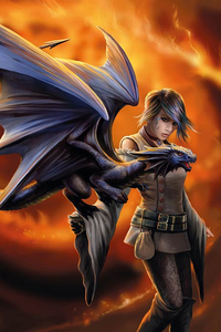 Anne Stokes Girls and Dragons Grußkarte - Dragon Trainer