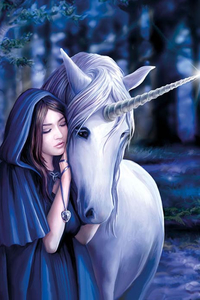Solace - Anne Stokes Unicorn Greeting Card