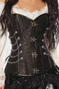 Black Brocade Overbust Corsage with Chains and C Lock...
