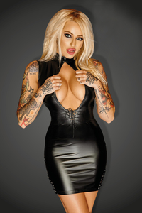 Diva - Powerwetlook Mini Dress with Lacings