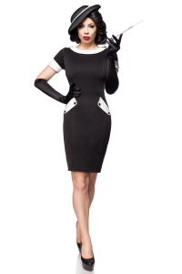 Vintage Pencil Dress - Schwarz-Weiß