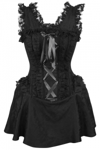 Salome Corset Dress - Brokat Schwarz