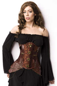 Brown Underbust Corsage with Leatherette Hip Panels