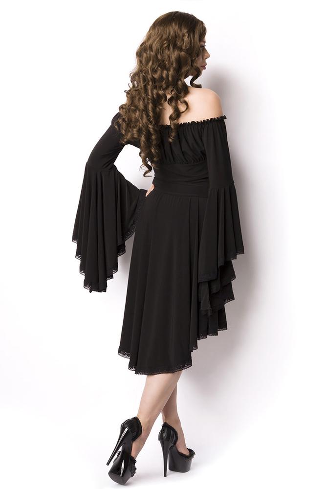 Schwarzes Kleid mit weiten Trompetenärmeln, 54,95