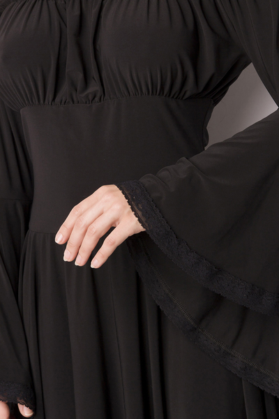 Black Jersey Knee-Length Dress with Trumpet Sleeves