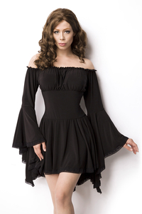 Black Jersey Tunic with Trumpet Sleeves