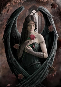 Anne Stokes Engel-Grußkarte - Angel Rose