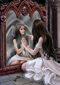 Anne Stokes Engel-Grußkarte - Magical Mirror