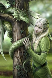 Anne Stokes Girls and Dragons Grußkarte - Kindred Spirits