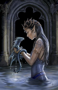 Anne Stokes Girls and Dragons Grußkarte - Water Dragon