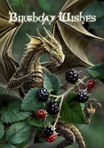 Anne Stokes Geburtstagskarte - Blackberry Dragon