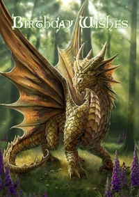 Anne Stokes Geburtstagskarte - Friendly Dragon