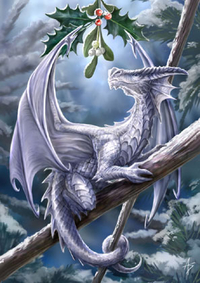 Anne Stokes Jul-Grußkarte - Snow Dragon