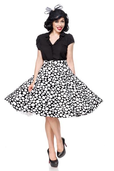 d7c4a7e2f6c0 Abby Black White Dot Swing Skirt
