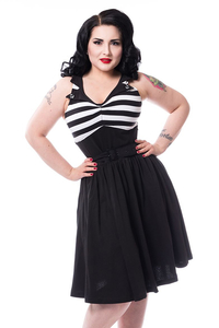 Kia Dress in Black-White Stripe mit Taillengürtel