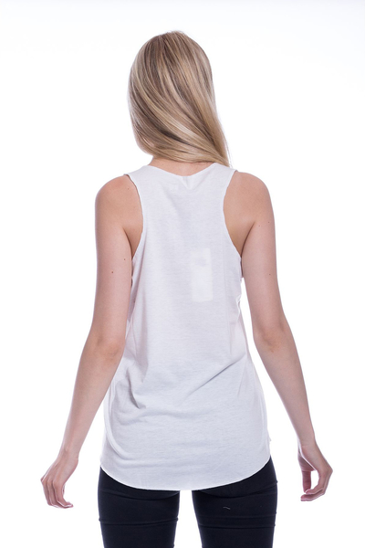All You Need Is - Weißes Racerback-Top mit Katzenprint