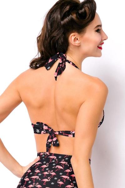 8e336111ce204 ... Sweetie Flamingo Highwaist Retro Bikini Top ...