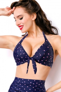 Dottie - Gepunktetes Retro-Bikini-Top in Blau-Pink