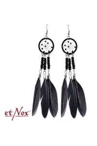 Dream Catcher Big Earrings with Feathers