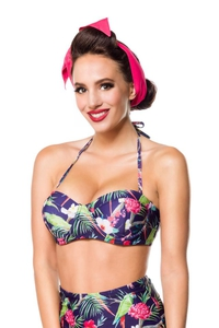 Vintage Retro Bikini Top with Exotic Print - Navy Blue